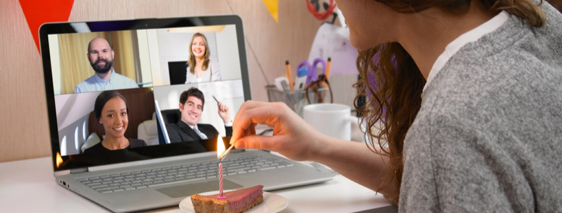 woman celebration birthday virtually